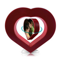 Floating Photo Frame Red Heart Magnetic Levitation Pictures Frame Magnetic Suspension Photo Frame Home Office Decoration
