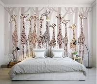 Custom 3d Photo Wall Paper Nostalgia Giraffe 3d Mural Designs Living Room TV Backdrop Bedroom 3d
