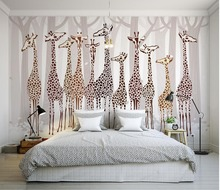 Custom 3d photo wall paper Nostalgia giraffe 3d mural designs Living room TV backdrop bedroom 3d photo wallpaper