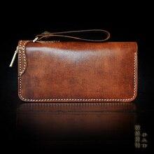 OLG.YAT handmade wallet mens handbag retro bags Italian Vegetable tanned leather brush color retro wallets long zipper handbags