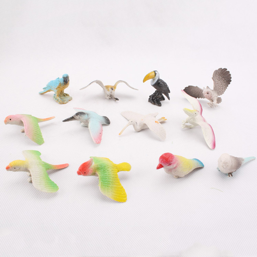 Birds Toy Model Dove/parrots/toucan/seagull/crane/eagle/egret Plastic Flying Animals Mini Figures Toys Selling Well All Over The World