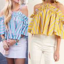 chic women blouse cute female ladies new womens elegent summer autumn cold shoulder top shirt