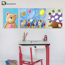 Children Poster Cartoon Animal Bear Rabbit Art Canvas Painting Nursery Wall Picture Modern Baby Room Kindergarten Decoration(China)