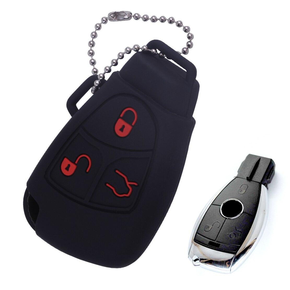 DWCX Car Black Silicone Cover Remote Key Case Jacket Fob For Benz C E G S CL ML CLK SLK 500SEC 500E 500SEL 500SL 600SEC 600SEL