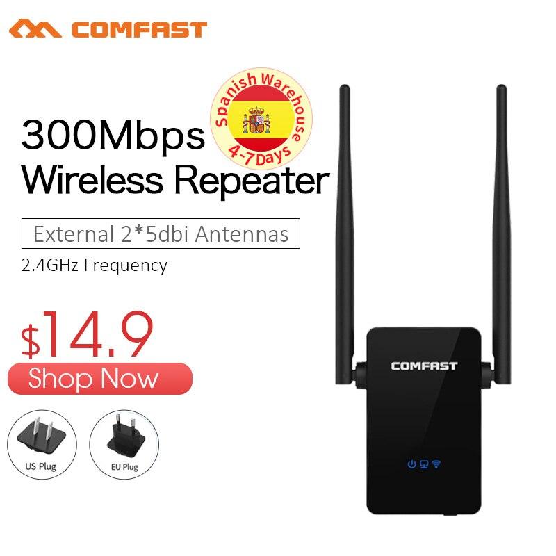 COMFAST Wi-fi Sem Fio Repetidor 300 Mbps 802.11n/b/g Rede Wifi Impulsionador Repetidor de Sinal Amplificador de Sinal Extensor CF-WR302S