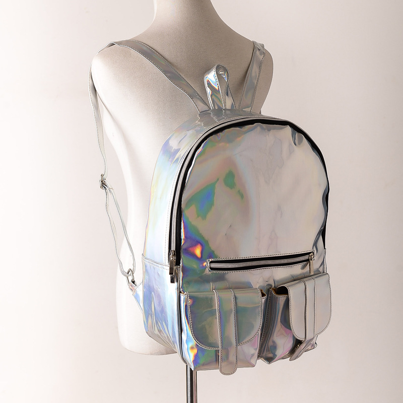 2016 Summer New Style Silver holographic laser backpack women PU Backpack  Travel Bag multi color school friends the best gift-in Backpacks from  Luggage ... a32ffd1c28f77