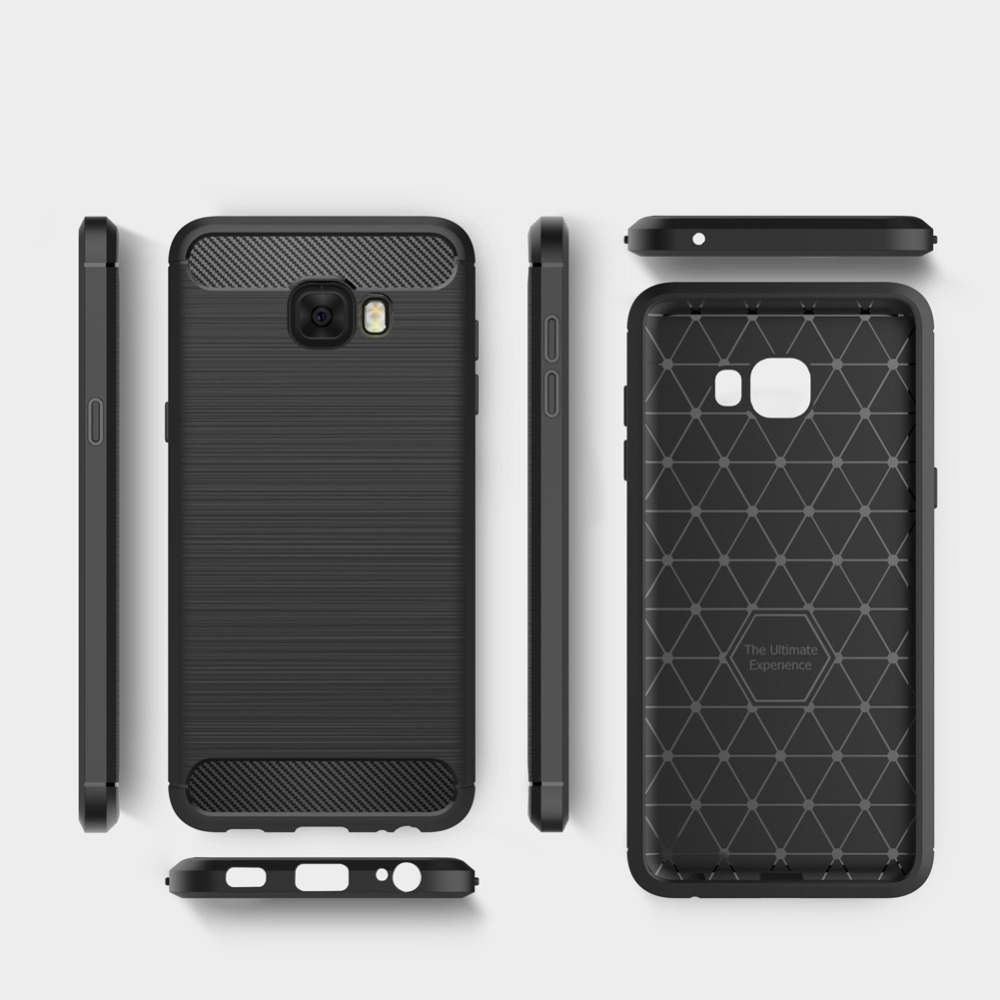 Luxury Soft TPU Case for Samsung Galaxy C7 Pro Case, Carbon fiber Leather Skin Back Cover Flexible Case