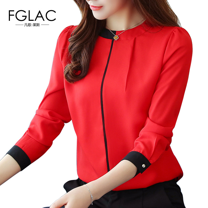 FGLAC Blouse shirt New Arrivals 2018 Spring long sleeved chiffon blouse Elegant Slim Office lady shirt Fashion women shirts