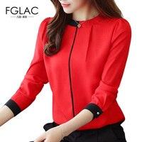 FGLAC Blouse Shirt New Arrivals 2017 Autumn Long Sleeved Chiffon Blouse Elegant Slim Office Lady Shirt