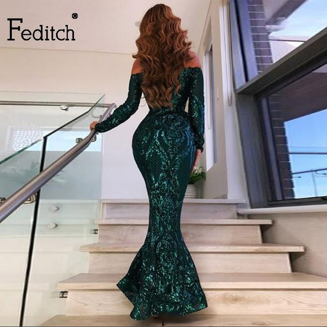 Feditch 2018 Newest Party Dresses Women Sexy Backless Sequin Maxi Long Dress  Elegant Lady Fashion Female 06173cbd16b2