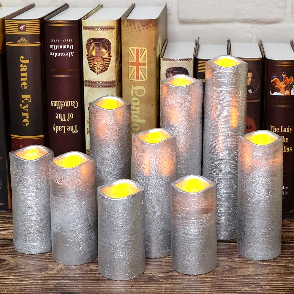 Eldnacele Set of 9 Flameless Candle Flickering LED Candles Real Wax Pillar Battery Opeated Candles with 10 key Remote and Timer