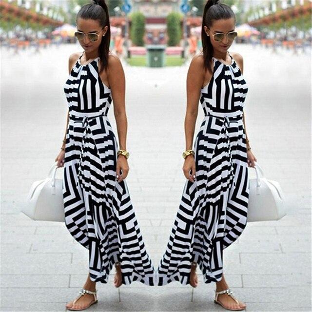 Summer New Maxi Long Dress New Fashion Women Sexy Boho Striped Sleeveless Beach Style Strap Sundress Vestidos 2019 Hot Sale
