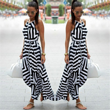 Summer New Maxi Long Dress New Fashion Women Sexy Boho Striped Sleeveless Beach Style Strap Sundress Vestidos 2019 Hot Sale