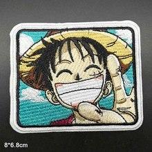 Короткая футболка с героями из японского аниме «Одна деталь полностью Вышитые Утюг на одежда с вышивкой патчи для Костюмы наклейки одежды