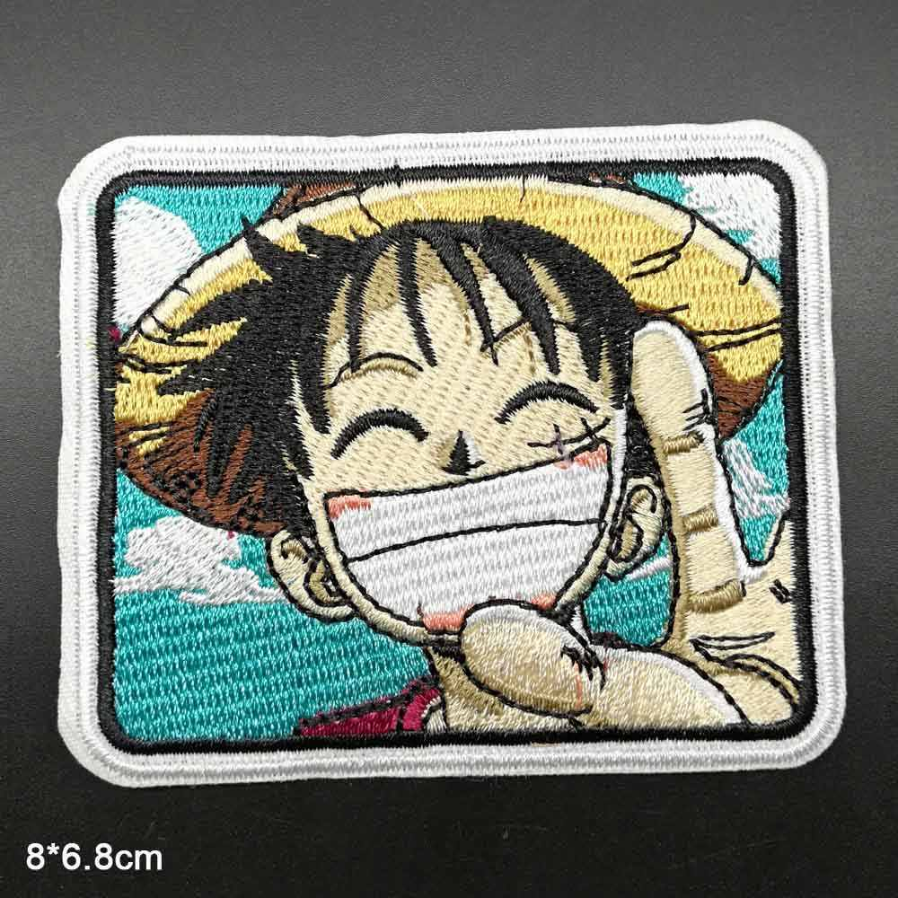 Japanese Anime One Piece Full Embroidered Iron On Embroidered Clothes Patches For Clothing Stickers Garment Wholesale