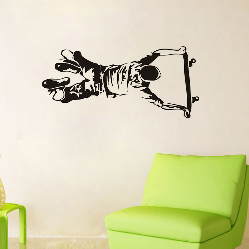 Self Handstand Skate Boy Wall Sticker for Kids Room Wall Decor Removable Black Printed Wallpaper Art Boy Bedroom Home Decoration