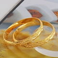 "NEVER FADING! 7"" 8mm 25g 24K YELLOW GOLD PLATED SOLID FILL WOMEN OPEN BANGLE"