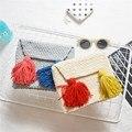 2017 Korea Women Woolen Envelope Clutch Bag Cartoon Tassel Children hand Bag Small Fringe Knitting Purse Clutch Summer Beach Bag