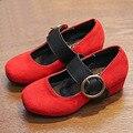 Европейский Стиль Высоких Каблуках Девушки Одеваются Shoes Стадо PU Дети Высокие Каблуки 2017 Детей Детские Shoes Для Свадьбы School Shoes