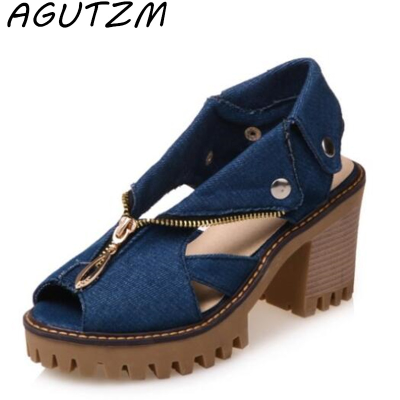 AGUTZM The New Style of Denim with Fish Mouth Women Sandals High Heels Women's Zipper Sandals Large Size Non Slip Shoes in the summer of 2016 the new wedge heels with fish in square mouth denim fashion sexy female cool shoes nightclubs