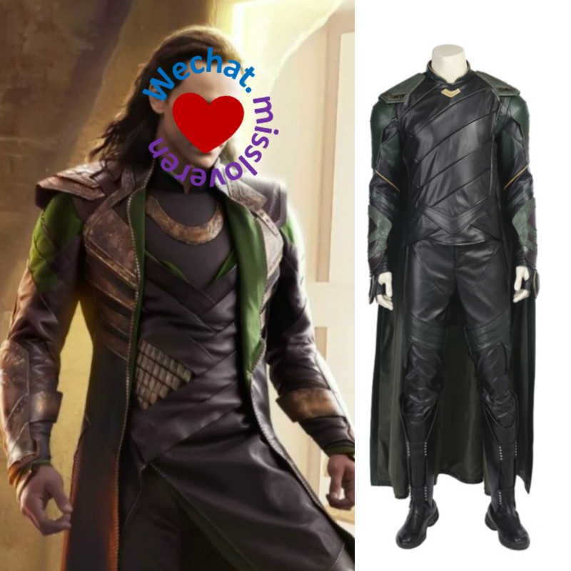 Cosplay Set voor Loki in Avenger My Hero Mantel en helm en laarzen - Carnavalskostuums