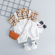 ZWXLHH 2019 Summer Toddler Infant Clothes Suits Baby Boys Clothing Sets Plaid Shirt Strap Shorts Kids Children Casual Suit цена и фото