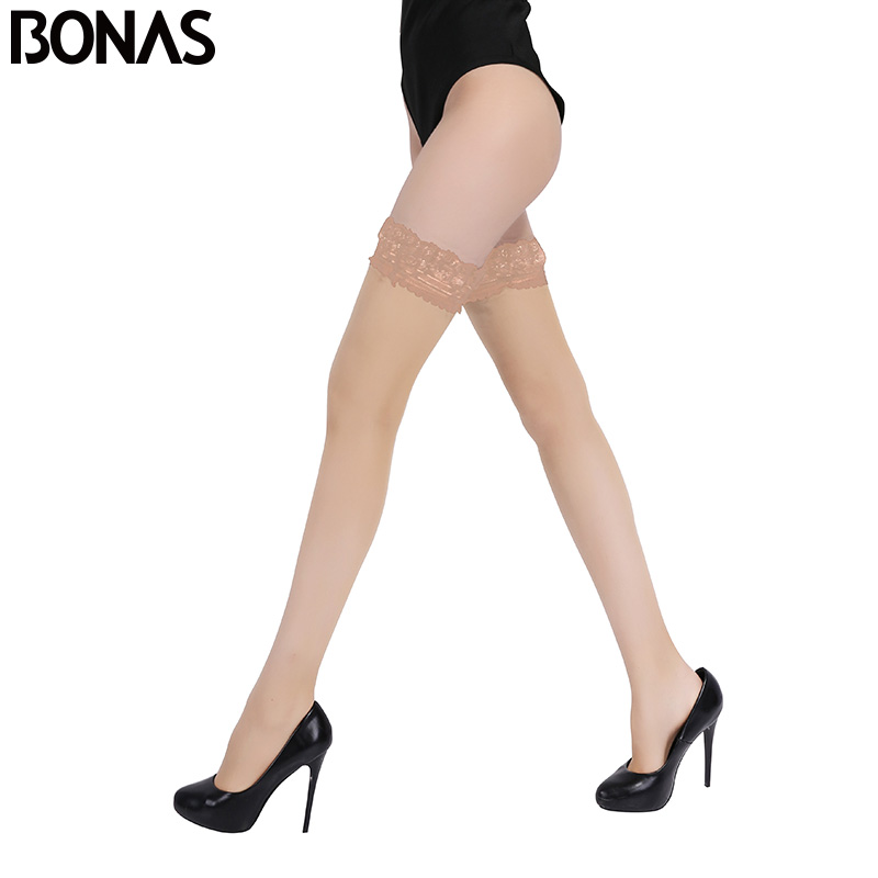 7d807dfae6b58f BONAS Thigh High Stocking Women Summer Over The knee Socks Sexy Bas Femme  Hosiery Nylon Lace Style Stay Up Stockings Plus Size
