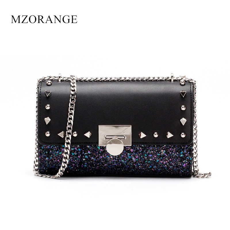 2018 NEW Genuine Leather women's bag Fashion metal chain handBag Sequins Rivets Buckle Small Flap bag Shoulder Crossbody bags alfani women s long sleeve marilyn cowl neck tunic sweater emerald 2x