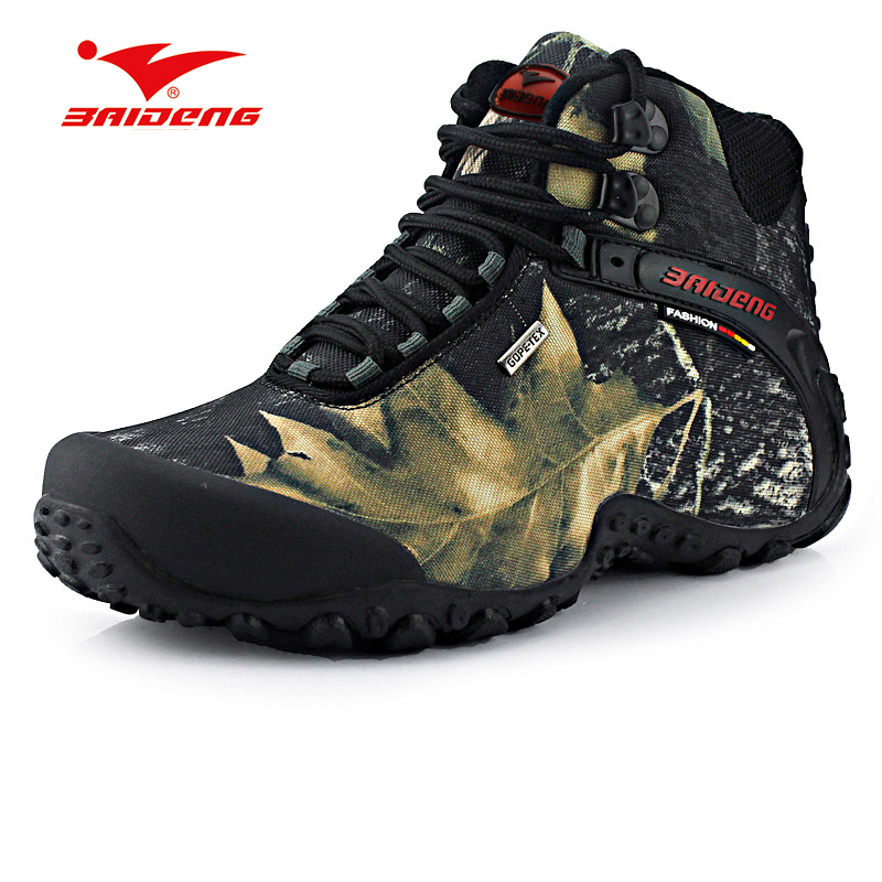 Big Size 40-46 Hiking Shoes  Waterproof Camoufalge High-cut Wide(c,d,w) Rubber Outsole Hunting Men Trekking Boots Shoes цена и фото