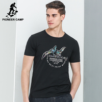 Pioneer Camp Fashion Black T Shirt Men Brand Clothing New Printed Casual T Shirt Male Top