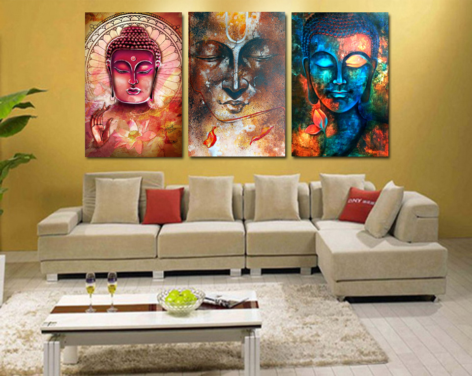 3 Pieces Buddha Image Portrait Art Painting Canvas Wall Art Picture Home  Decoration Living Room Canvas Print Modern Painting In Painting U0026  Calligraphy From ... Part 97