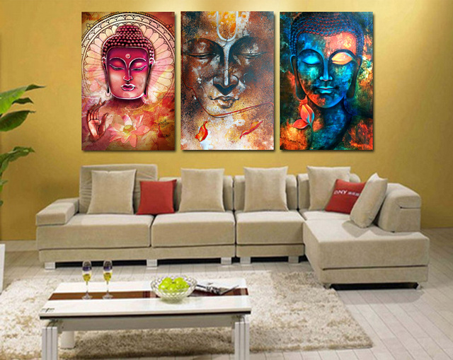 3 Pieces Buddha Image Portrait Art Painting Canvas Wall Art Picture Home Decoration Living Room Canvas Print Modern Painting