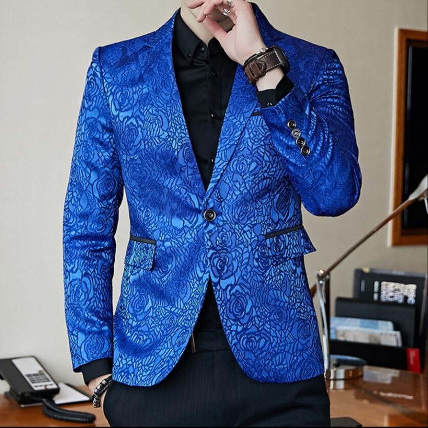 M-3xl New Flower Suits Men's Casual Single-breasted Blazers Jacket Youth Fashion Small Suits Dress Hairstylist Singer Costumes