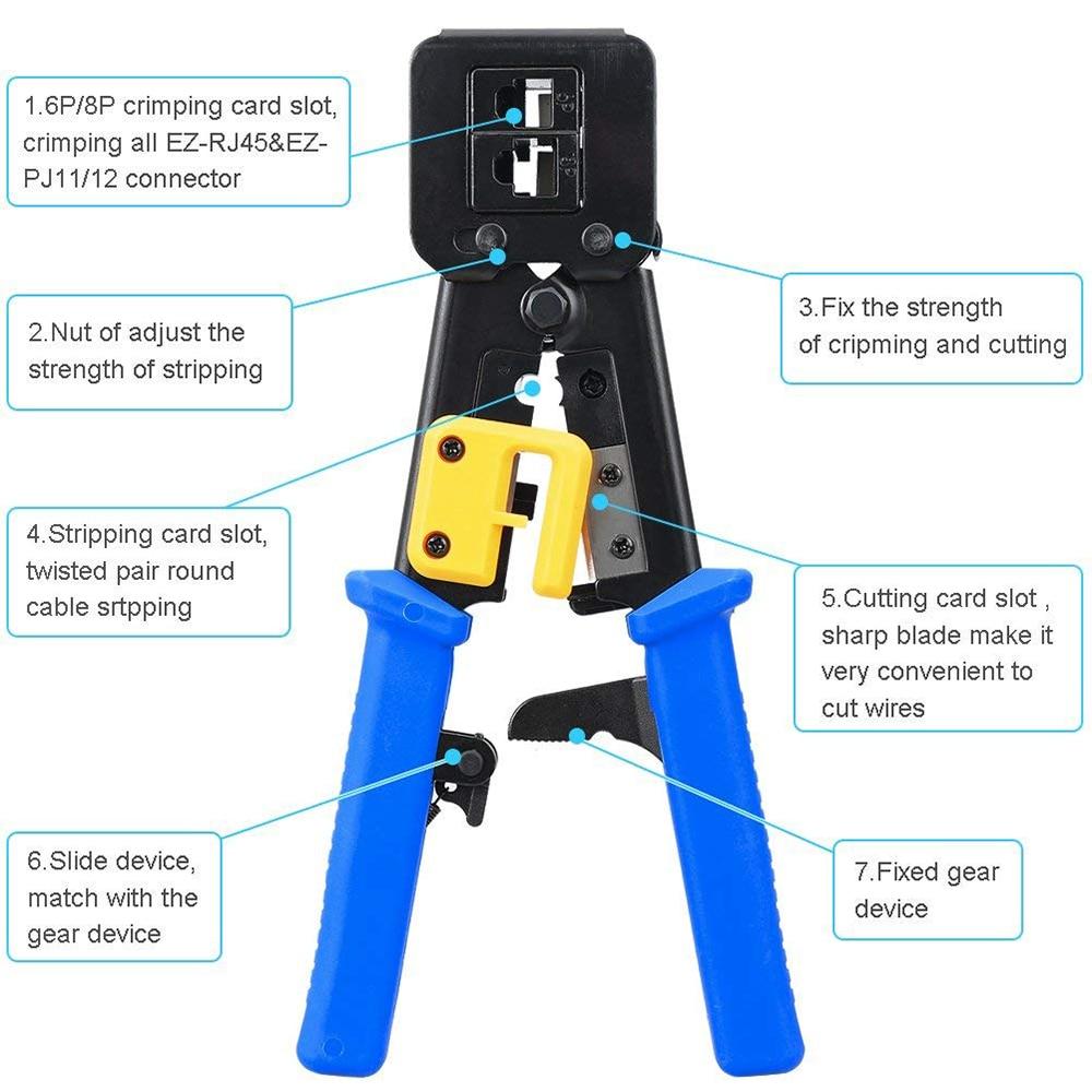 Outil RJ45 EZ rj45 sertisseur réseau outils pinces RJ11 RJ12 Cat5e cat6 pince à dénuder outil de sertissage 8 P/6 P pince à câble multifonction - 4