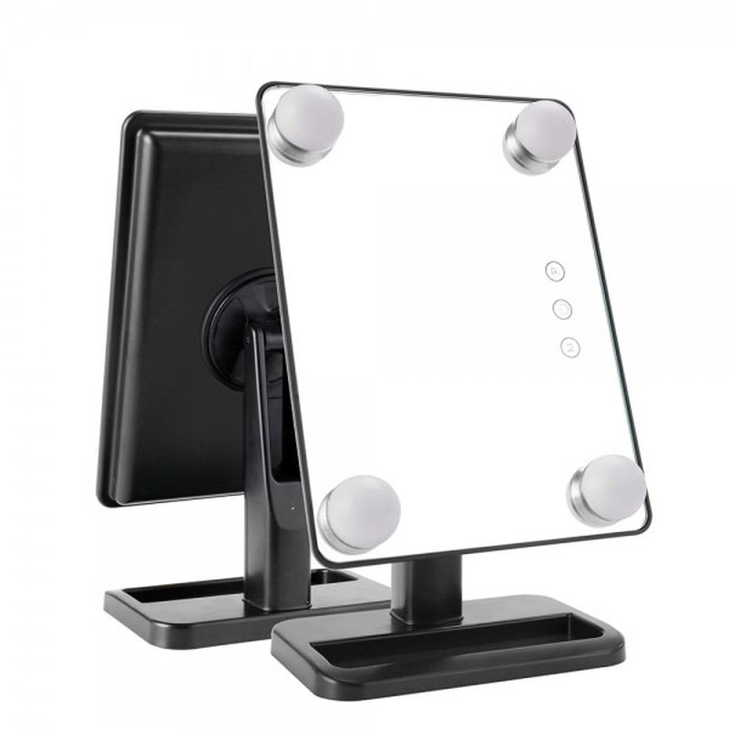 4 Bulbs Lighted Makeup Mirror Vanity with Stand Tabletop Cosmetic Touch Screen Button Led Makeup Mirror Hollywood Stage