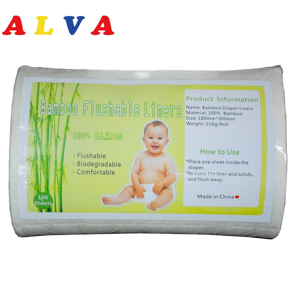 AlvaBaby 1 Roll 2016 100% biodegradable Flushable Nappy Liners Flushable Bamboo Liner