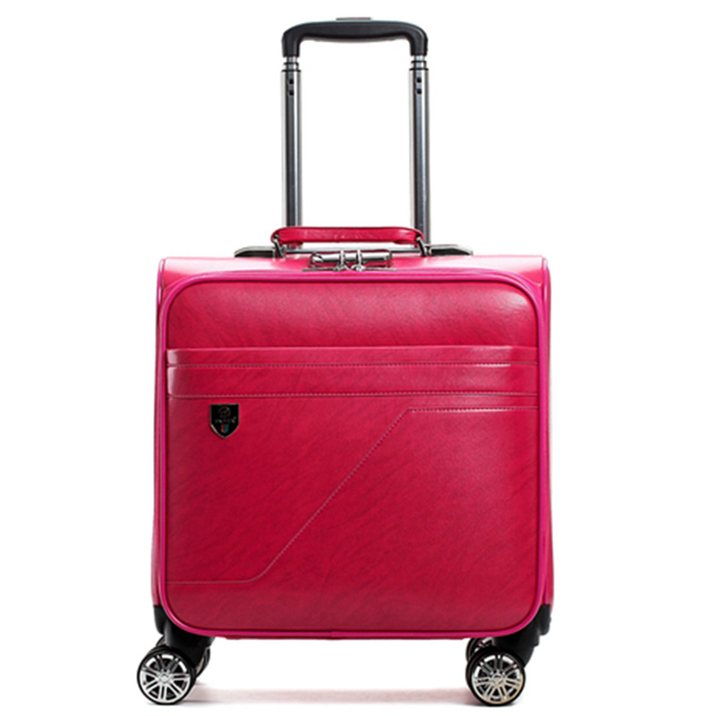Fashion trolley case,Business boarding Box,Universal wheel 16 inch luggage bag,PU valise,Silent small suitcase,SIZE:40*22*45CM