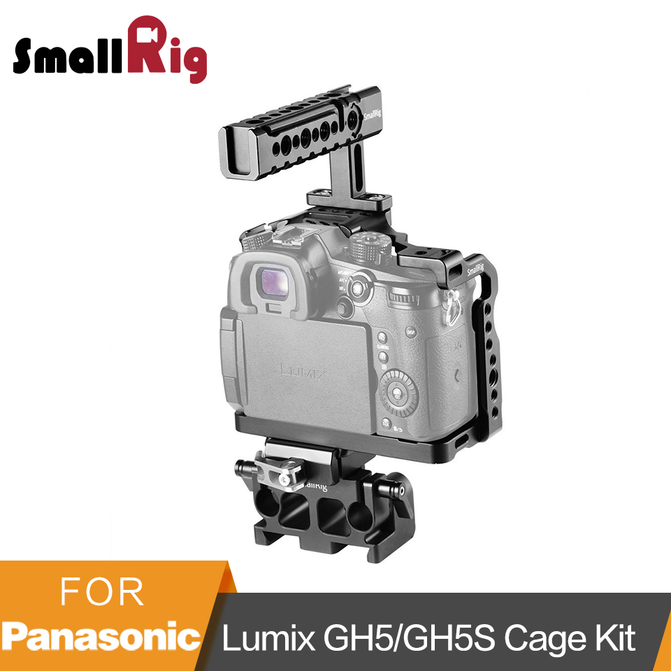 SmallRig Cage Kit for Panasonic Lumix GH5/GH5S Camera Cage With Top Handle and QR Baseplate Kit- 2051