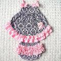 Damasco Bloomer Colmena de La impresión Del Niño Del Bebé Oscilación Superior Conjunto Pastel de Cumpleaños de Éxito Del Verano Outfit, Delantal Infantil Kids Camisa Pañal cubierta