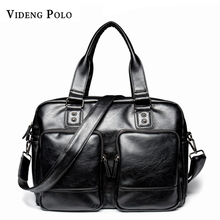 Videng polo marke pu-leder männer handtasche business 14 laptop tote aktentaschen crossbody umhängetasche große kapazität reisetasche