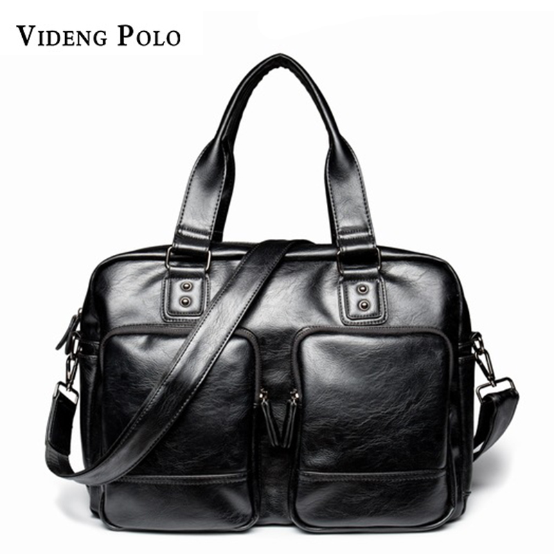 VIDENG POLO Brand PU Leather Men Handbag Business 14 Laptop Tote Briefcases Crossbody Shoulder bag Large Capacity travel bag