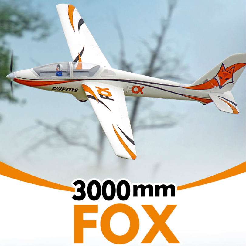 FMS RC Airplane Glider 3000mm 3m FOX with Flaps 5CH 6S EPO PNP Big Large Size