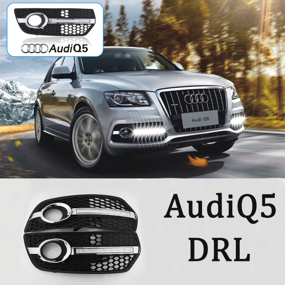1 Set Car Styling Audi Q5 LED White Daytime Running Lights DRL Car Driving Lights Fog Lamp Cover For Audi Q5 2010 2011 2012 2013 drl daytime running lights for audi a4 b8 2009 2010 2011 2012 auto led day driving lamp with fog lamp hole free shipping