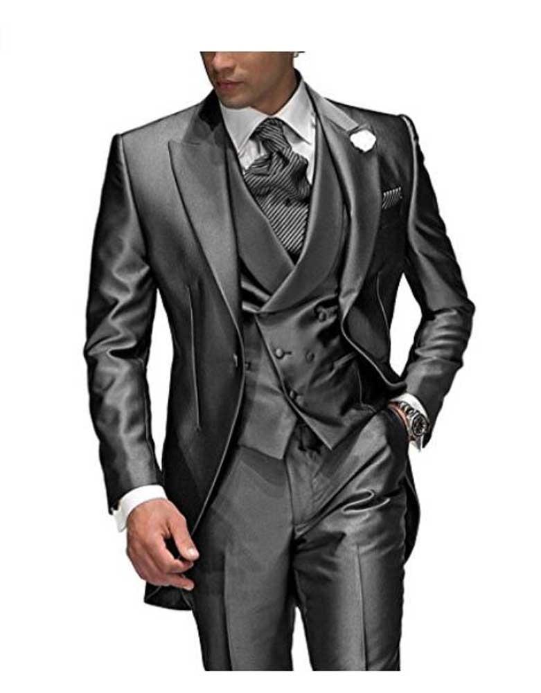 Charcoal Grey Men's Suit Peaked Lapel 3 Pieces 1 Button Groom Tuxedos Wedding Suit For Men Set Custom Made(Jacket+Pants+Vest)