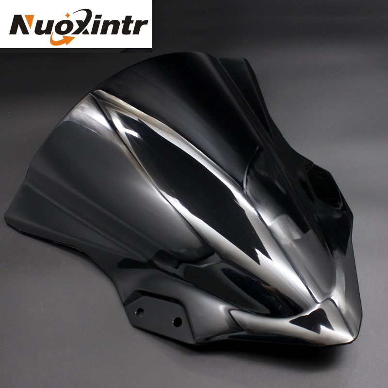 Nuoxintr Motorcycle Windshield For KAWASAKI <font><b>NINJA</b></font> <font><b>400</b></font> <font><b>NINJA</b></font> 250 NINJA400 NINJA250 2018 ABS Black Motorbike <font><b>Windscreen</b></font> image