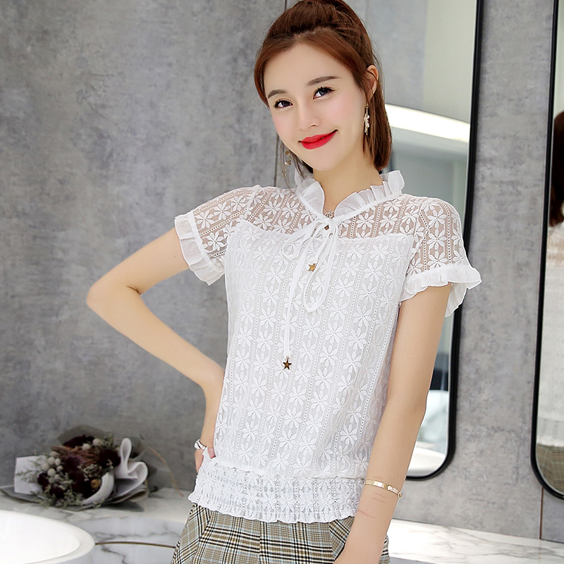 sweet Short sleeve summer women tops fashion 2018 lace women blouse shirt blusas sexy hollow lace womens clothing tops 0058 30