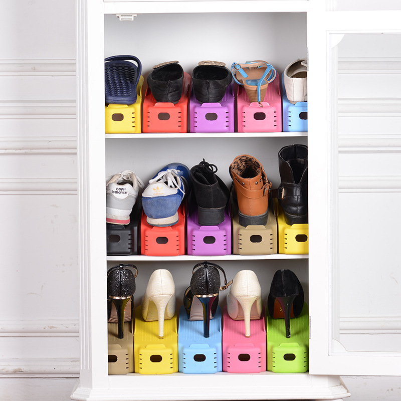8pcs Home Use Shoe Organizer Modern Double Cleaning Storage Shoe Rack Living Room Convenient Shoebox Shoes Organizer Stand She Home & Garden Clothing & Wardrobe Storage