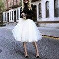 Нью-puff женщины шифон тюль юбка белый faldas высокая талия миди длиной до колен шифон Большой размер гранж юп женский пачка юбки