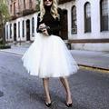 New Puff Women Chiffon Tulle Skirt White faldas High waist Midi Knee Length Chiffon plus size Grunge Jupe Female Tutu Skirts