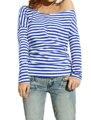 Allegra K 2015 New Style Women Boat Neck Horizontal Stripes Elastic Drap Back Design Chic Shirt Blue Top Discount 50 Ladies